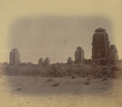 View from the west of the Brahmeshvara Temple and surrounding temples, Bhubaneshwar